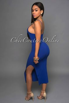 Chic Couture Online - Tully Royal-Blue Side Slit Midi Dress, (http://www.chiccoutureonline.com/tully-royal-blue-side-slit-midi-dress/)