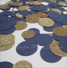 Party Confetti, Navy Blue And Gold Glitter, Nautical Theme, Table Scatter, Wedding Decoration, Bridal Shower Supply, Birthdays, 200 Pieces