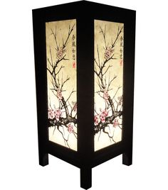 New Asian Oriental CHERRY BLOSSOM TREE Bedside Table Lamp Wood