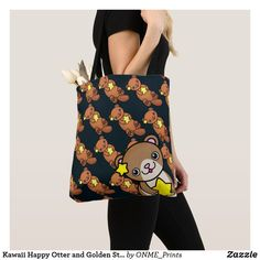 Kawaii Happy Otter and Golden Stars Tote Bag Shopping Bag Design, Shopping Bags, Golden Star, Make A Wish, Otters, Colorful Backgrounds, Reusable Tote Bags, Kawaii, Fancy