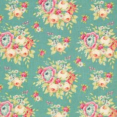 Tilda Garden Flowers 1 - Cotton - petrol