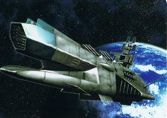 Star Blazers warship Spaceship Design, Spaceship Concept, Concept Ships, Concept Art, Science Art, Science Fiction, Cyberpunk, Sci Fi Anime, Capital Ship