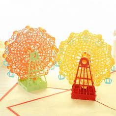 Find More Paper Crafts Information about 10pcs Originality 3D Pop Up Greeting Card Ferris Wheel Kirigami Paper Sculpture Origami Postcard Birthday Folding Best Sell ,High Quality card record,China card internet Suppliers, Cheap wheel game from Handicraftsman on Aliexpress.com