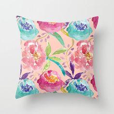 Peach Floral Pillow Cover.