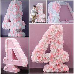 El número 4 de las flores de papel para las chicas!   105h85h25sm.  # # # 4Birthday tsifraiztsvetov tsifraizbumagi # # # tsvetyizbumagi 4yearsold tsifranadenrozhdeniya
