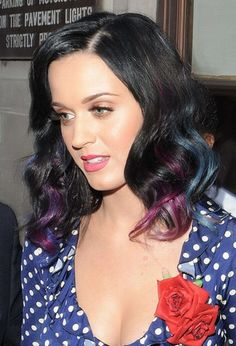 Katy Perry Hair - black with a touch of pink and blue color