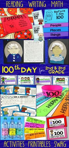 Celebrate the Day of school with activities for reading, day writing, and math tasks made especially for and grade. Writing Activities, Classroom Activities, Classroom Ideas, Math Anchor Charts, Teaching Math, Teaching Ideas, Teaching Resources, 2nd Grade Teacher, 100 Days Of School