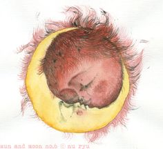 Sun and Moon Illustration Kiss and Love Original by nuryu on Etsy