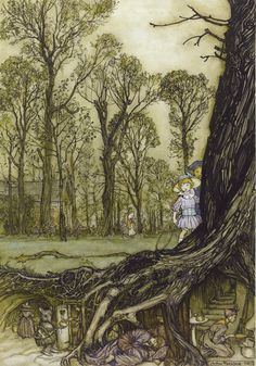 "ARTHUR RACKHAM.  ""FAIRIES ARE ALL MORE OR LESS IN HIDING UNTIL DARK"""