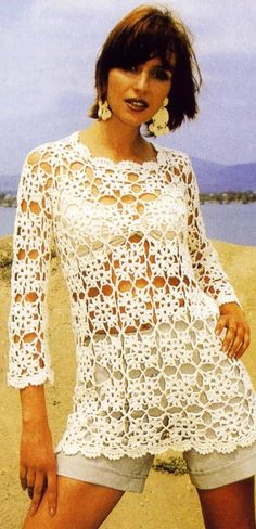 Ivelise Feito à Mão: Blusa De Quadradinhos De Crochê