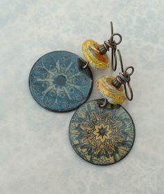 Yellow and Blue Kaleidoscope Enameled Earrings//OOAK Artisan Earrings//Contents Jewelry by Angela Gruenke