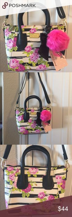 """NWT! BETSEY JOHNSON ROSEBUD DOME BAG BRAND NEW! AUTHENTIC BETSEY JOHNSON ROSEBUD DOME BAG-Approximate measurements are 8""""-10"""" W X 7"""" H X 4"""" D, with an adjustable detachable strap... Betsey Johnson Bags"""