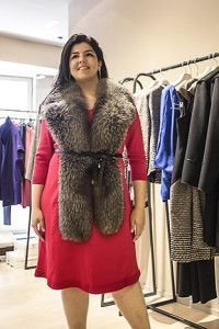 @Marina Zlochin Rinaldi  Rinaldi Plus size luxirious  brand in Milan - Italy Featuring a beautiful fox fur scarf