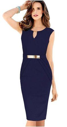 Alaroo Blue Plus Size O Neck Sashes Design Short Work Business Pencil Midi Dress