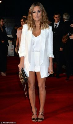 Standing out: Caroline Flack wore a glossy white ensemble for her night on the red carpet - NTA Awards Nude Gown, Sheer Gown, Caroline Flack Style, Jacqueline Jossa, Fashion Vocabulary, White Outfits, Celebrity Style, White Dress, Style Inspiration