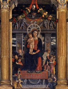 Políptico de São Zeno (1457-1460) Andrea Mantegna - Basílica de São Zeno, Verona   A seção central do retábulo de San Zeno mostra a Madona segurando a Criança rodeada por anjos tocando música, sentada em um trono de mármore decorado com relevos de inspiração  romana.  O  trompe l'oeil naturalista de guirlandas, aparentemente afixadas na parte superior da imagem, criam um relacionamento com as guirlandas seguradas pelos querubins no relevo de mármore da parte superior do trono.  A fronteira…
