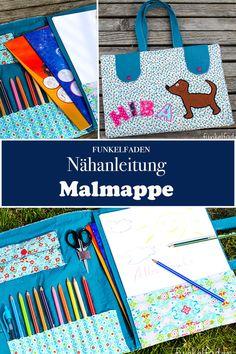Freebook zum Nähen - Eine Malmappe für Kinder, in der Stifte, Papier und Schere ihren Platz finden. Zusammengeklappt als Tasche ideal für unterwegs.