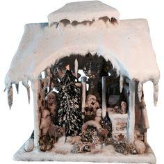 Antique beautiful German winter wonderland Christmas Snow House from sondrakruegerantiques on Ruby Lane