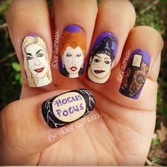 "A ""Hocus Pocus"" Manicure Is The Only Costume Your Nails Need Halloween Nail Designs, Halloween Nail Art, Halloween Fun, Seasonal Nails, Holiday Nails, Cute Nails, Pretty Nails, Hair And Nails, My Nails"