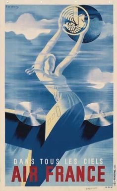 Poster. ROGER DE VALERIO AIR FRANCE. 1935.
