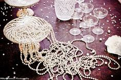 great gatsby wedding pear and crystal table decor