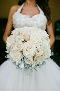 Ultra Glamorous Bridal Bouquet Arranged With Several Varieties Of Neutral/Cream/Light Champagne Roses & Garden Roses + Dusty Miller Foliage