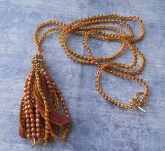 Amber and Dusty Rose Boho Tassel Necklace  by TerebellumStudio