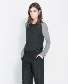 Image 2 of SWEATER WITH CONTRASTING SLEEVES from Zara