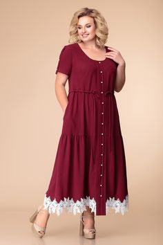 Long burgundy dress in large sizes Plus Size Work Dresses, Plus Size Summer Outfit, Party Wear Dresses, Casual Dresses, Fashion Dresses, Royal Dresses, Dress Shirts For Women, Plus Size Fashion For Women, Burgundy Dress