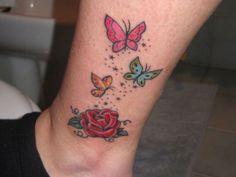 Cute butterfly tattoo on leg