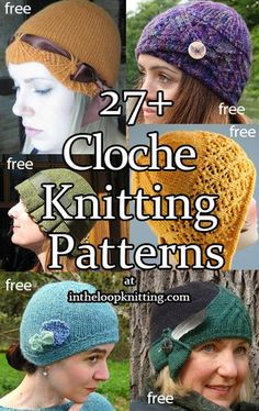 The cloche style brings to mind the Roaring Twenties, flappers, Art Deco. Created by milliner Caroline Reboux, the fitted hat with a brim low on the forehead formed a bell, the meaning of cloche in French. Most patterns are free. Knitting Stitches, Knitting Patterns Free, Knitting Tutorials, Loom Knitting, Knitting Ideas, Free Knitting, Knitting Projects, Stitch Patterns, Vintage Crochet Patterns