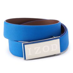 Men's IZOD Logo Plaque Golf Belt, Size: 38, Blue