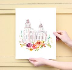 LDS Temple Watercolor Manti by SweetnSandy on Etsy