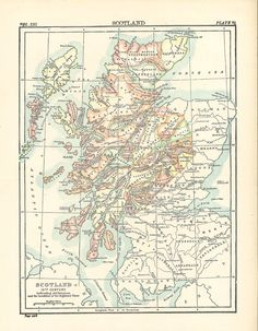 old map of 16th century Scotland and the clans