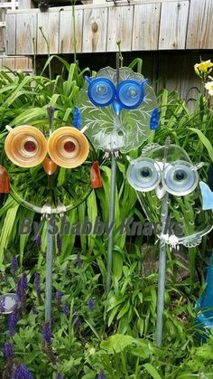 Old Dishes Upcycled Into Yard Art For The Garden