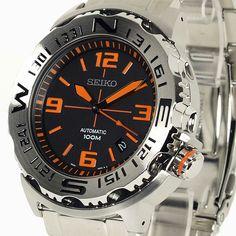 Men's Seiko Black/Orange Face Watch.