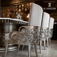 Design and Skill Taking cue from rich craftsmanship in India , La Sorogeeka has instilled its detail applications with contemporary sensibilities Classic Furniture, Unique Furniture, Home Decor Furniture, Luxury Furniture, Furniture Design, Dinning Chairs, Dining Decor, Dining Room Design, Luxe Decor