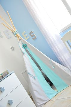 Tipi gris bleu Made by CyCy chambre bébé enfant
