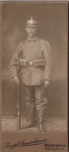 CDV photo Soldat mit Pickelhaube Bajonett + voller Ausrüstung - Münster 1910er