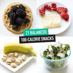 Pinthis one for later, because here's 21 snacks that ring in at just around 100 calories each!  Getting healthy has never been easier! Grab the full list when you click the image!