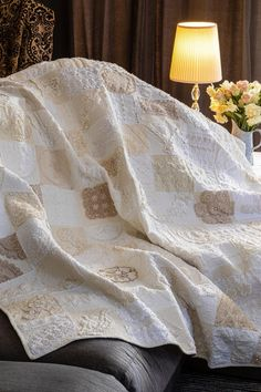 Vintage doilies and linen quilt by Carol McSherry on FB Upcycleit #TextileWaste #Upcycle #Recycle #DIY #GreenLiving #Handmade #DIY #Craft #Reuse #Repurpose #Linen #Doilies #Quilts Repurpose, Reuse, Upcycled Textiles, Quilts, Doilies, Recycling, Handmade, Crafts, Diy