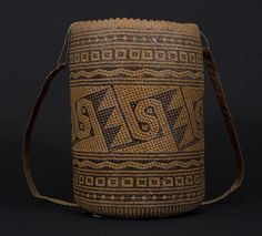 Ajat basket, Penan people. Borneo 20th century, 20 (cm) diameter by 30 (cm) height.
