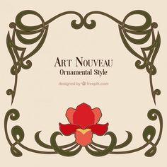 Hand gezeichnet Kunst nouveau Rahmen mit einer Blume 1,013 23 Vor 9 - Bildumrahmung