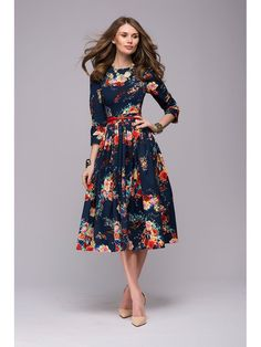 5e1deefea9 Women casual knee-length dress 2018 new arrival long sleeve printing summer  dress for offical