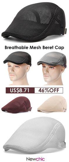 c1c70b1b84d Men Summer Mesh Beret Cap Breathable Visor Flat Hat Adjustable Solid Color  Newboy Hat
