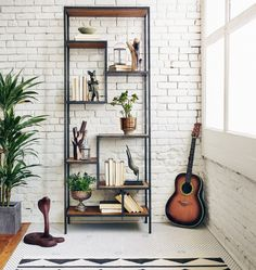 Helena small bookcase - Staggered shelves play across a slim and simple waxed-black iron framework. The Helena Bookcase shelves are reclaimed pine that is bleac Decor, Small Bookcase, Furnishings, Metal Bookcase, Furniture, Interior, Iron Furniture, Home Decor, Home Furnishings