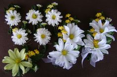 Wedding Corsage set /White and Yellow Wedding /Daisy by NonisNiche, $25.00