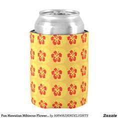 Fun Hawaiian Hibiscus Flower Can Cooler