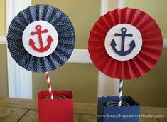 2 6 Nautical Rosettes Centerpieces Paper by BeautifulPaperCrafts 1st Birthday Parties, Birthday Party Decorations, Buffet Decorations, Party Centerpieces, Birthday Diy, Halloween Decorations, Baby Shower Marinero, Nautical Centerpiece, Sailor Birthday