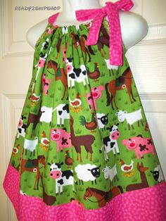 cowgirl outfit pink dress barnyard Birthday Party farm baby girl country fair pig cow horse chicken alpaca 9 12 18m 2t 3t 4t 5 6 toddler on Etsy, $25.50